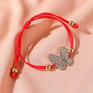 Red Robe Rhinestone Butterfly Bracelet